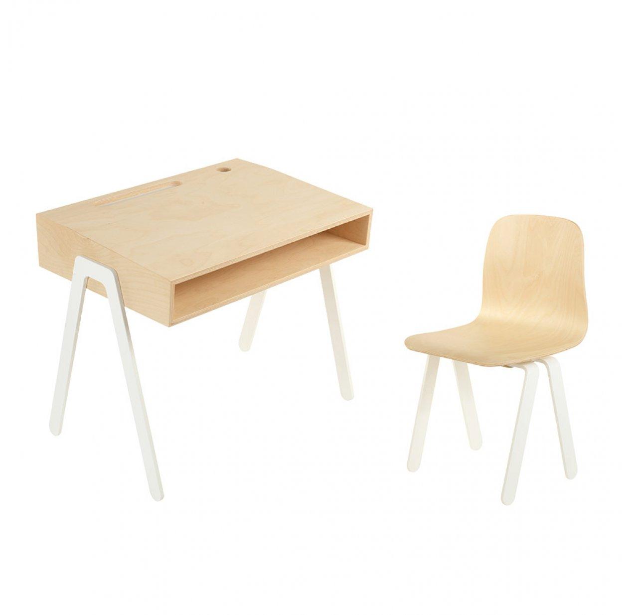 bureau et chaise enfant 2 6 ans blanc in2wood pour chambre enfant les enfants du design. Black Bedroom Furniture Sets. Home Design Ideas