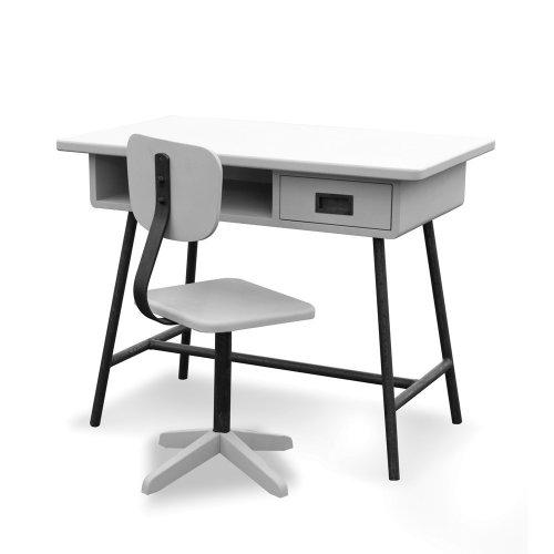 bureau la classe et chaise d 39 atelier gris clair laurette pour chambre enfant les enfants du. Black Bedroom Furniture Sets. Home Design Ideas