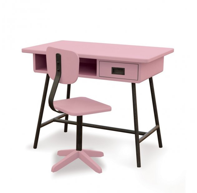 bureau la classe et chaise d 39 atelier vieux rose laurette pour chambre enfant les enfants du. Black Bedroom Furniture Sets. Home Design Ideas