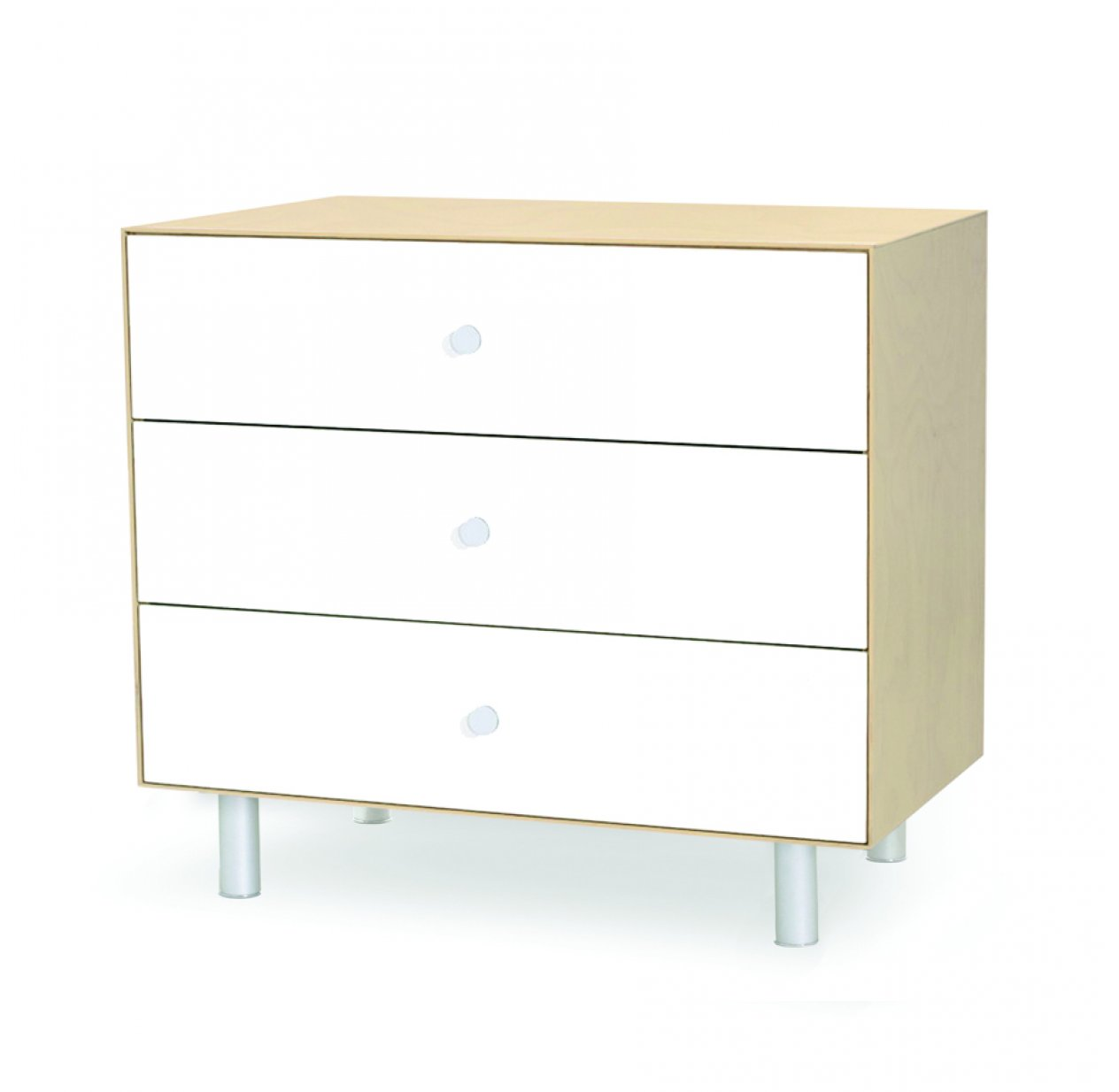 Commode Merlin Classic 3 tiroirs - Blanc/Bouleau