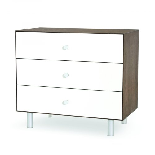 Commode Merlin Classic 3 tiroirs - Blanc/Noyer