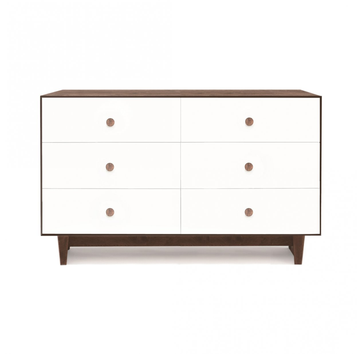 Commode Merlin Rhea 6 tiroirs - Blanc/Noyer