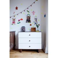 Commode Merlin Rhea 3 tiroirs - Blanc/Noyer