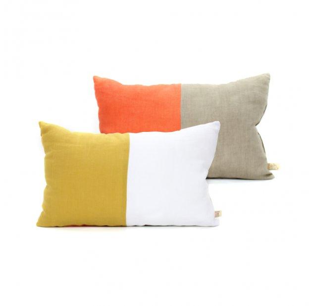 Coussin En Lin 25 X 40 Cm   Orange/Jaune Lab Pour Chambre Enfant   Les  Enfants Du Design