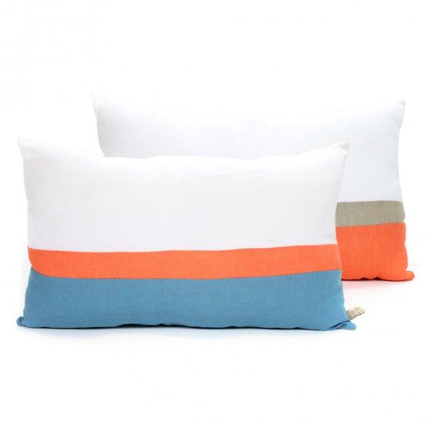 Coussin en lin 30 x 50 cm - Bleu/Orange