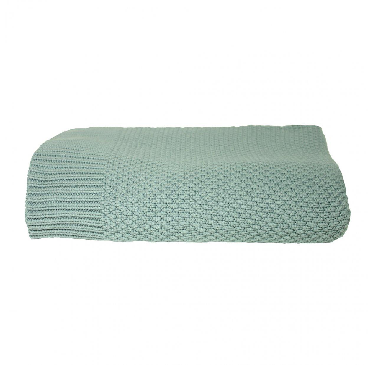 plaid en mailles vert d 39 eau lab pour chambre enfant. Black Bedroom Furniture Sets. Home Design Ideas