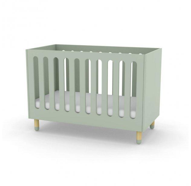 Lit bébé à barreaux - Vert d\'eau