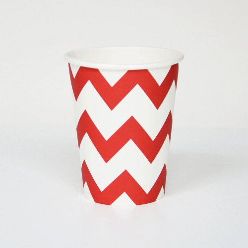 8 gobelets Chevrons - Rouge