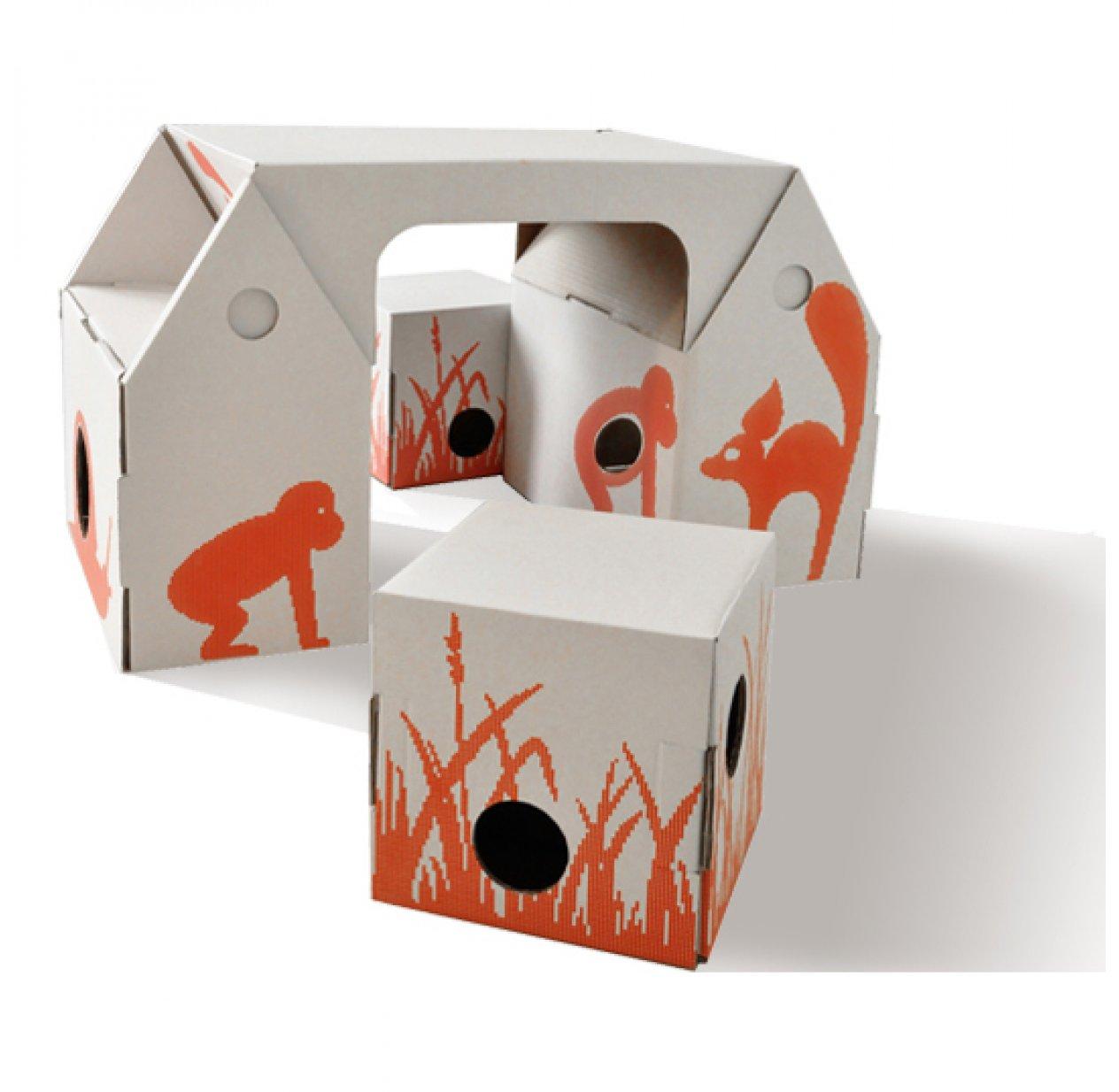 bureau enfant et tabourets en carton recycl bo buro studio roof pour chambre enfant les. Black Bedroom Furniture Sets. Home Design Ideas