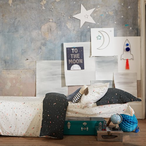 housse de couette r versible espace 140 x 200 vert kaki blanc meri meri pour chambre enfant. Black Bedroom Furniture Sets. Home Design Ideas
