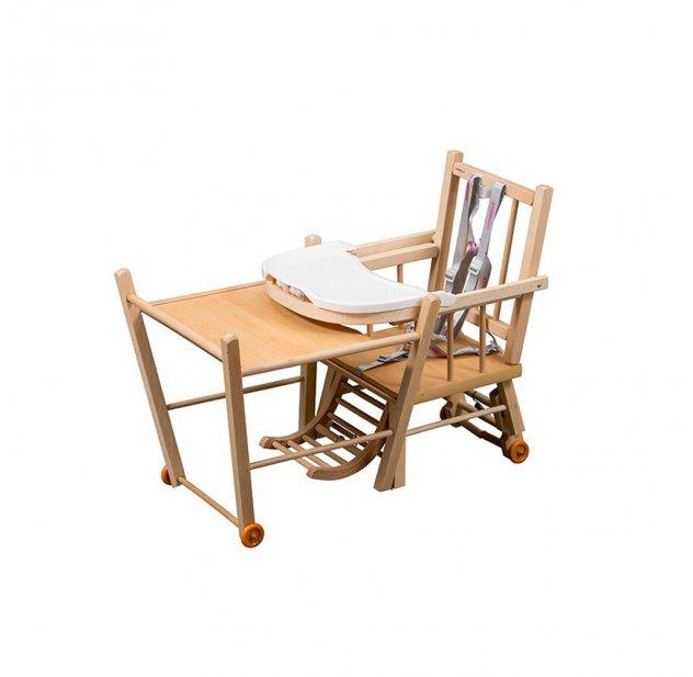 Chaise haute transformable Marcel - Vernis naturel