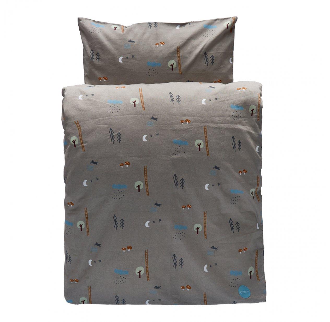 parure de lit for t happy forest vert de gris oyoy pour chambre enfant les enfants du design. Black Bedroom Furniture Sets. Home Design Ideas