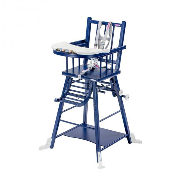 Chaise haute transformable Marcel - Laqué bleu marine Combelle pour ...