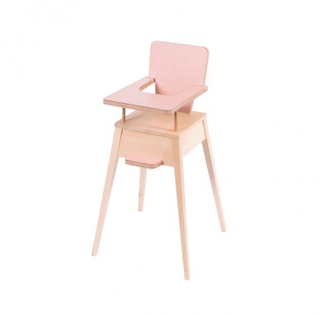 Chaise haute pour poupées Les Jouets d'Hier Rose poudré