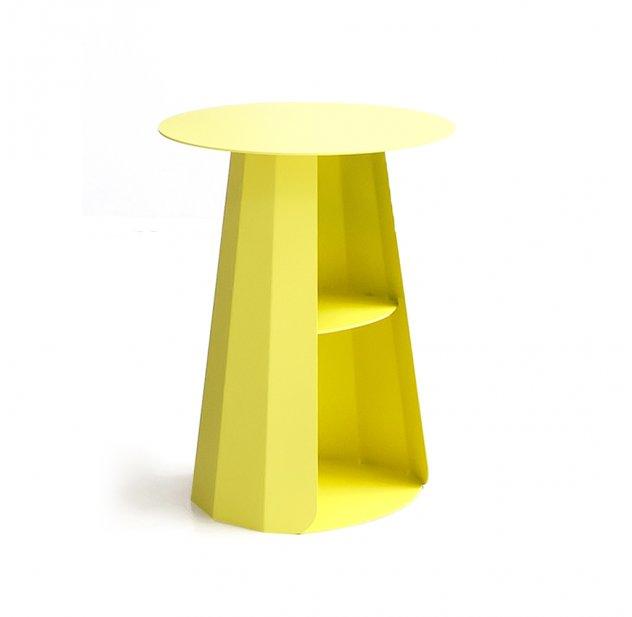 chevet ankara plateau rond - jaune matière grise pour chambre enfant