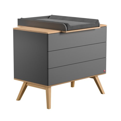 Commode à langer Nature - Gris anthracite
