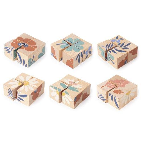 4 cubes en bois Plantes