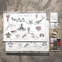 School Poster Kit à broder - Animaux marins