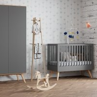 Lit bébé 60 x 120 Nature - Gris anthracite