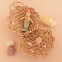 Valisette Coquillage en rotin - Rose