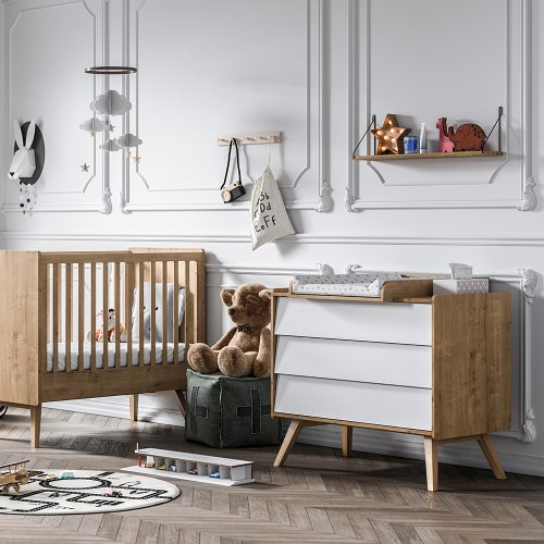 lit b b 60 x 120 vintage ch ne vox pour chambre enfant. Black Bedroom Furniture Sets. Home Design Ideas