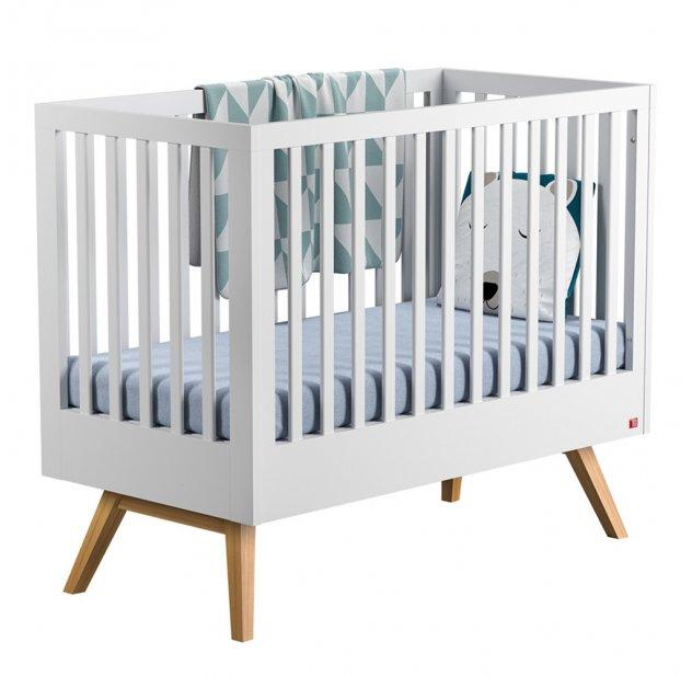 Lit Bébé évolutif 70 X 140 Nature Blanc Vox Pour Chambre Enfant