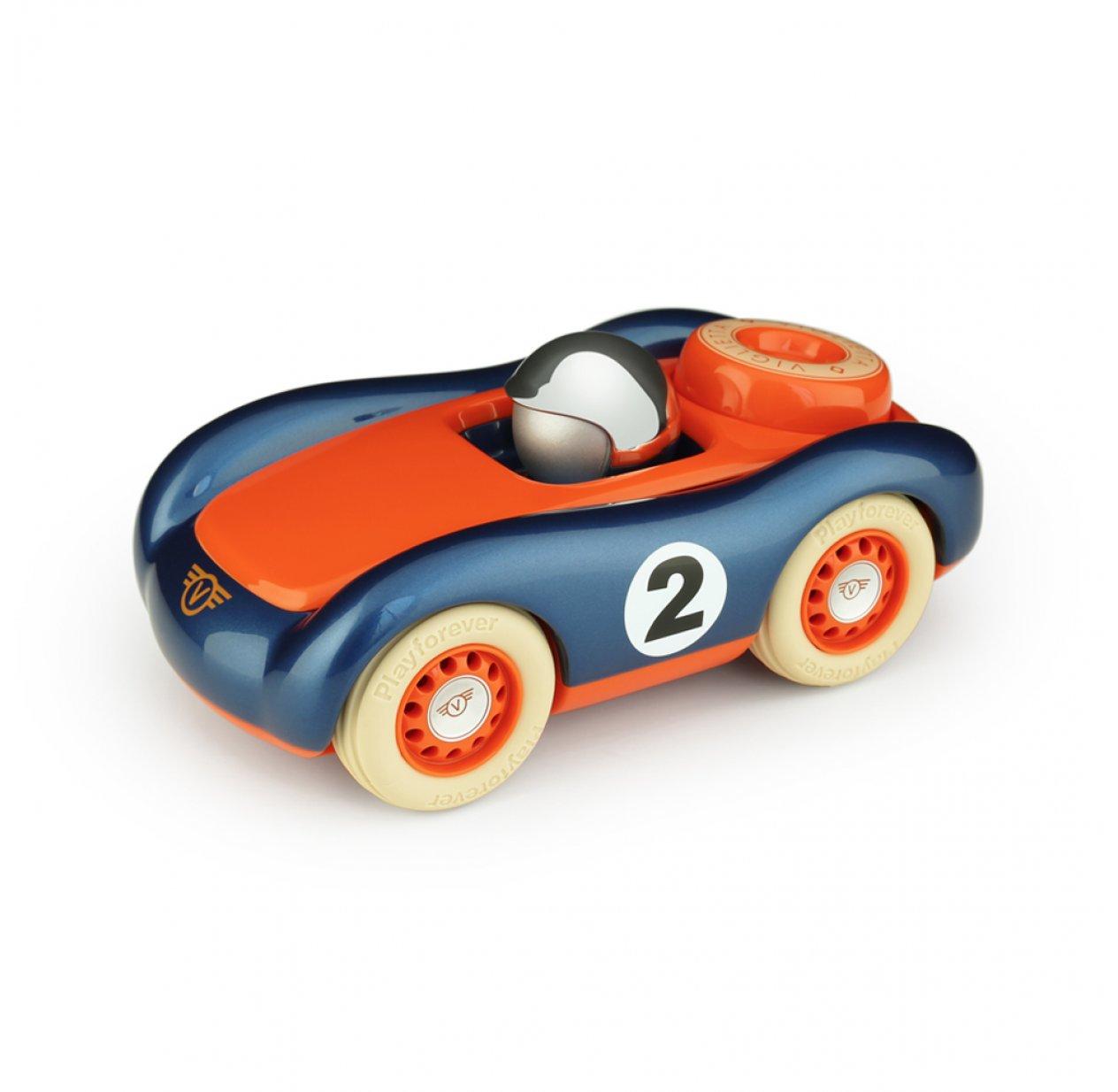 voiture de course verve viglietta jesper bleu orange playforever pour chambre enfant les. Black Bedroom Furniture Sets. Home Design Ideas