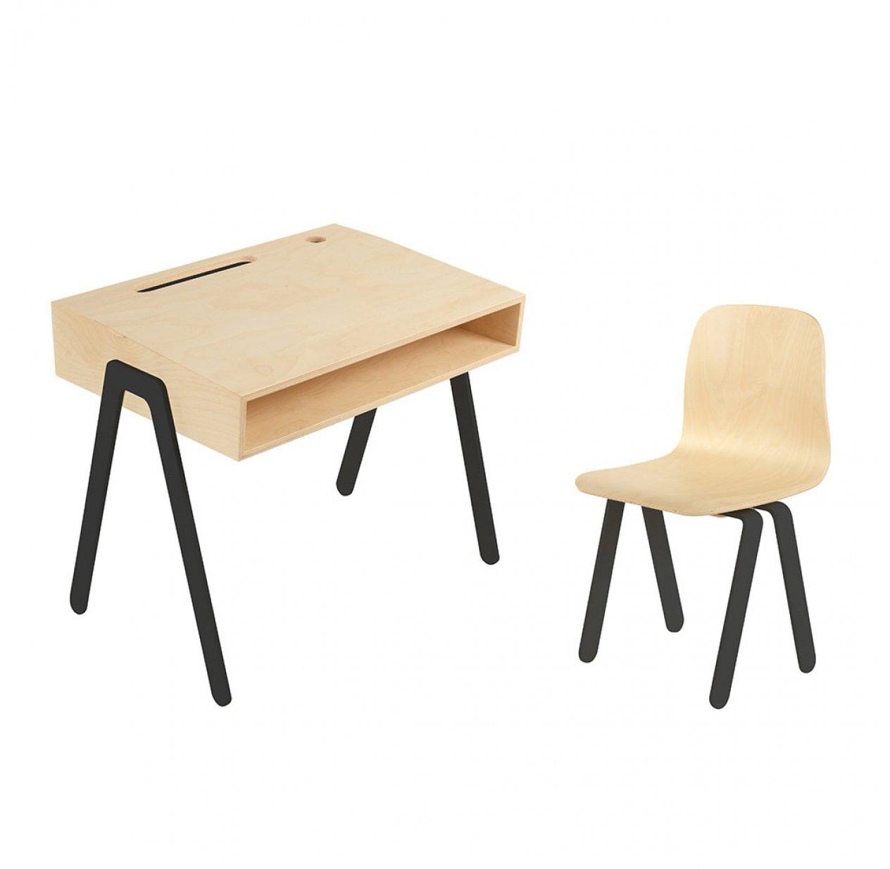bureau et chaise enfant 2 6 ans noir in2wood pour. Black Bedroom Furniture Sets. Home Design Ideas