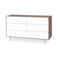 Commode Merlin Classic 6 tiroirs - Blanc/Noyer