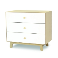 Commode Merlin Sparrow 3 tiroirs - Blanc/Bouleau