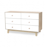 Commode Merlin Sparrow 6 tiroirs - Blanc/Bouleau