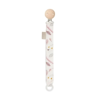 Attache tétine Pressed leaves rose - Blanc