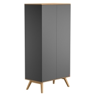 Armoire 2 portes Nature - Gris anthracite