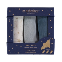 Pack 3 langes Baby Love Elements - Bleu