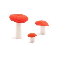 Champignon en feutre - Orange fluo