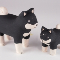 Figurine famille chiens Shiba Inu Polepole Pair
