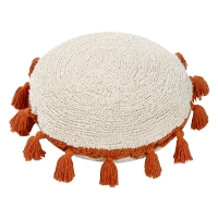 Coussin Circle pompons - Terracotta