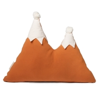 Coussin montagne Snowy pompon sunset - Orange