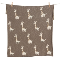 Couverture en tricot On The Go - Girafe - Taupe