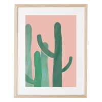 Affiche A3 Cacti in Pink - Rose/Vert
