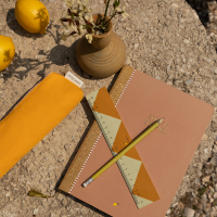Trousse tricolore Freckles - Jaune/Orange/Rose